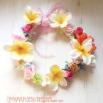 プルメリアとバラの花冠