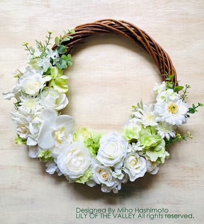 リースブーケ ホワイト&グリーン 造花
