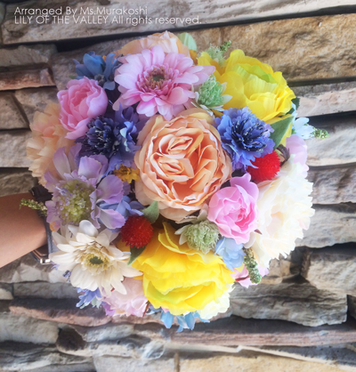 造花 ラウンドブーケ 手作り一 日体験レッスン作品