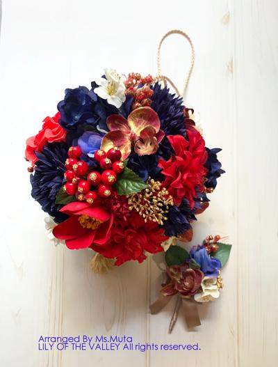 造花 ボールブーケ 手作り教室 受講生作品