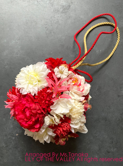 ボールブーケ 造花 体験レッスン作品