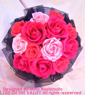 プリザーブドフラワー ピンク&ブラックブーケ